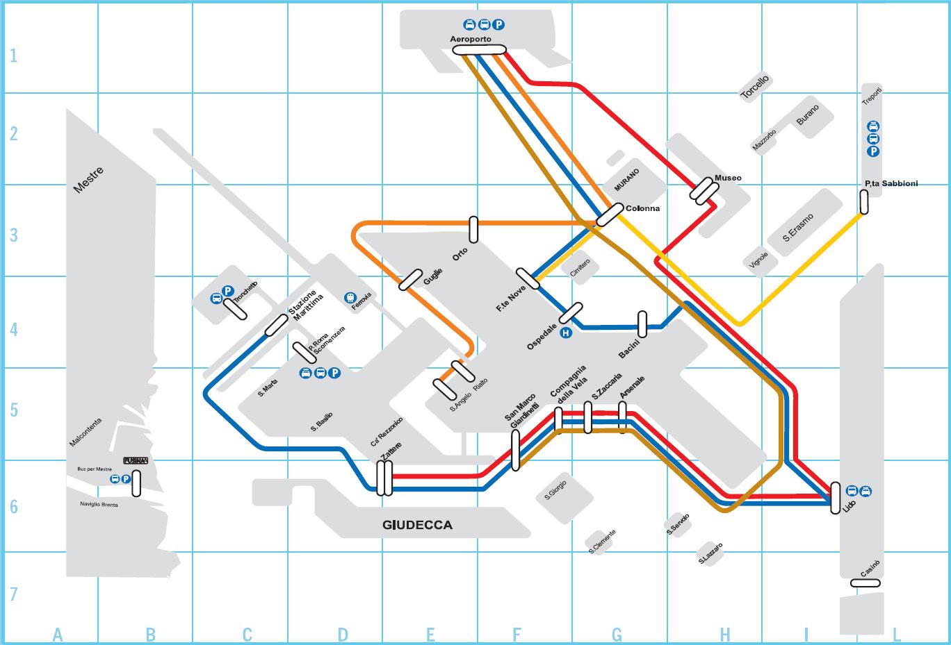 Venice Vaporetto Routes (ACTV Vannbusser)