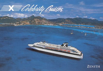 Celebrity Cruises Ship Postcards - Zenith cruise ship itinerary
