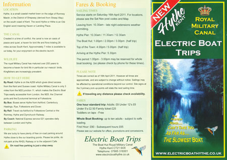 2011 Brochure -  Hythe Electric Boat Trips - Photo: © Ian Boyle, 31st May 2011- www.simplonpc.co.uk
