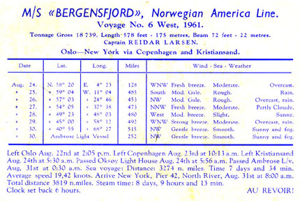BERGENSFJORD - Norwegian America Line - Simplon Postcards - www.simplonpc.co.uk