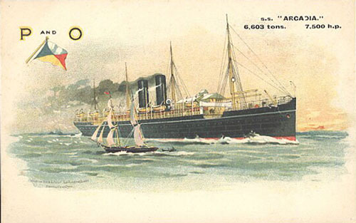 ACRADIA (1) 1888 - P&O - Simplon Postcards - simplonpc.co.uk