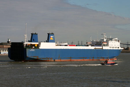 Norking outbound from Tilbury Docks for Zeebrugge - Photo: © Ken Smith, Gravesend, October 18th 2008