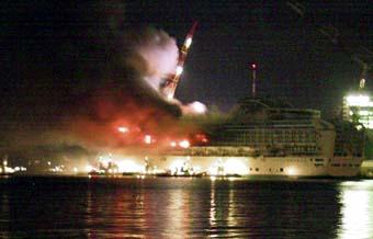 Princess Cruises PO Cruise Ship Postcards - Princess cruise ship fire