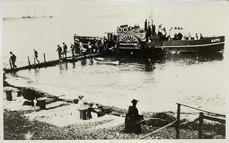 Double-ended paddle steamer Kate at Penarth beach, using a precarious-looking portable jetty