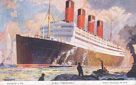The Cunard transatlantic liner Aquitania